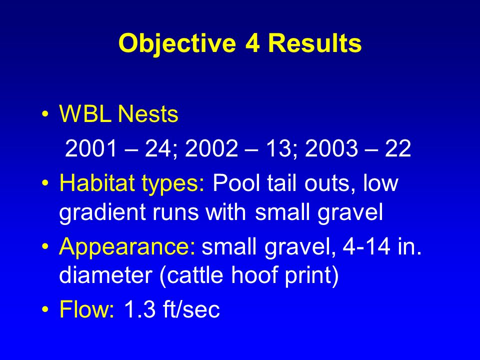 Objective 4 Results WBL Nests 2001 – 24; 2002 – 13; 2003 – 22 Habitat types: Pool tail outs, low gradient runs with small gravel Appearance: small gra