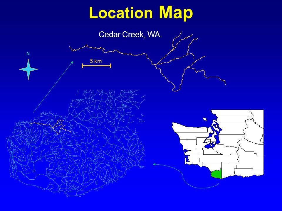 Location Map Cedar Creek, WA. N 5 km
