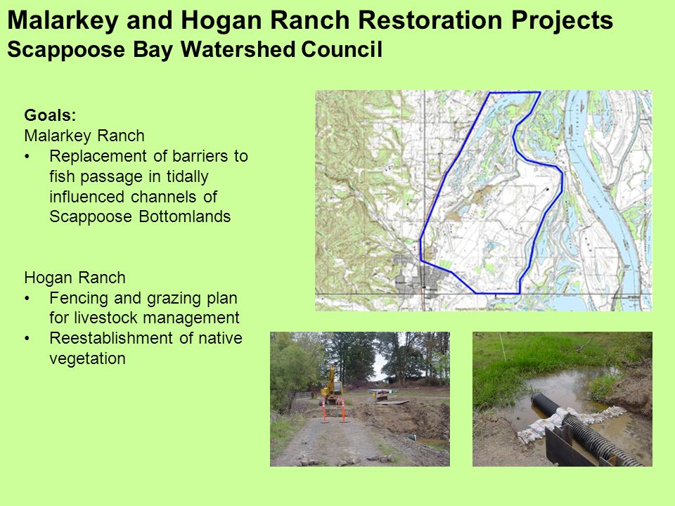 Malarkey and Hogan Ranch Restoration Projects Scappoose Bay Watershed Council Goals: Malarkey Ranch Replacement of barriers to fish passage in tidally influenced channels of Scappoose Bottomlands Hogan Ranch Fencing and grazing plan for livestock management Reestablishment of native vegetation