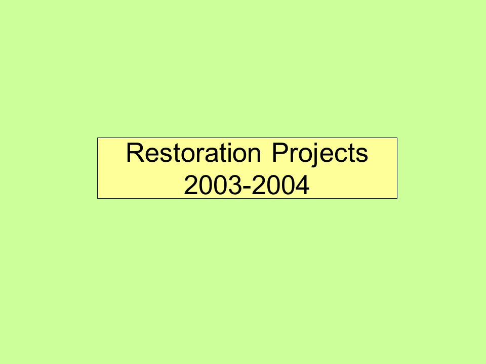 Restoration Projects 2003-2004