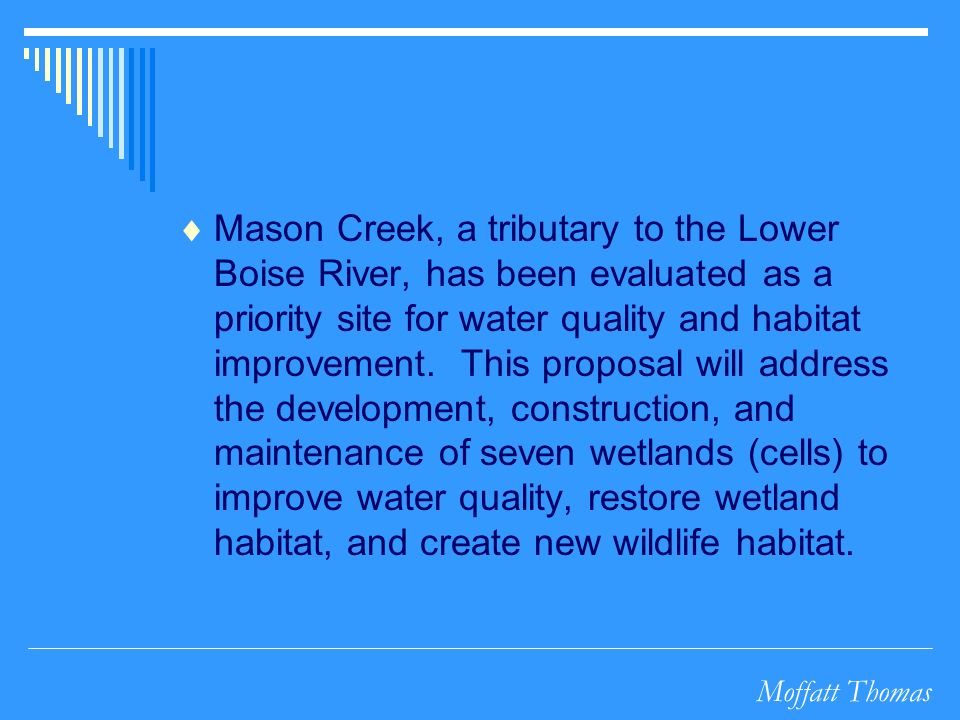 Moffatt Thomas Mason Creek, a tributary to the Lower Boise River, has been evaluated as a priority site for water quality and habitat improvement. Thi