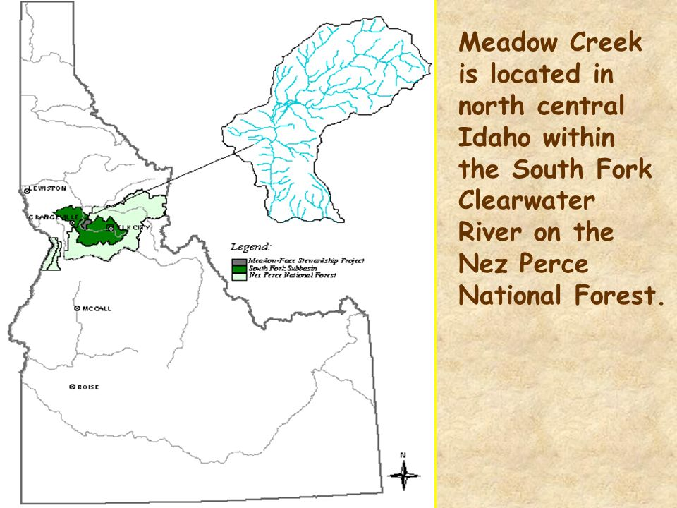 Meadow Creek is located in north central Idaho within the South Fork Clearwater River on the Nez Perce National Forest.