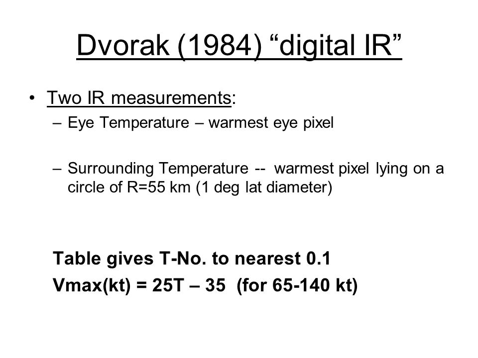 Dvorak (1984) digital IR Two IR measurements: –Eye Temperature – warmest eye pixel –Surrounding Temperature -- warmest pixel lying on a circle of R=55 km (1 deg lat diameter) Table gives T-No.