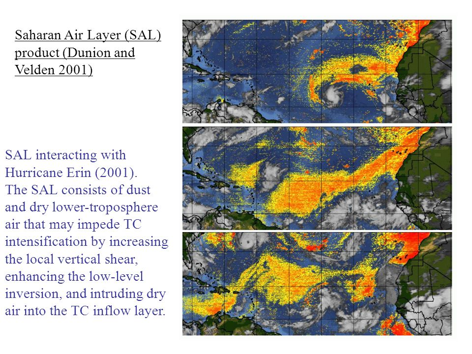 Saharan Air Layer (SAL) product (Dunion and Velden 2001) SAL interacting with Hurricane Erin (2001).