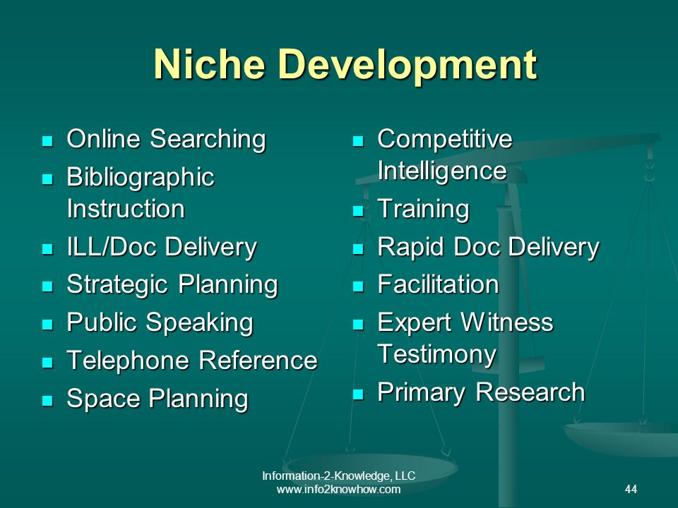 Information-2-Knowledge, LLC www.info2knowhow.com44 Niche Development Niche Development Online Searching Online Searching Bibliographic Instruction Bi