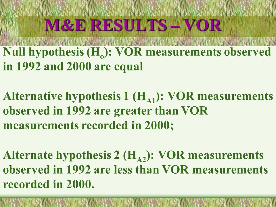 M&E RESULTS – VOR Null hypothesis (H o ): VOR measurements observed in 1992 and 2000 are equal Alternative hypothesis 1 (H A1 ): VOR measurements observed in 1992 are greater than VOR measurements recorded in 2000; Alternate hypothesis 2 (H A2 ): VOR measurements observed in 1992 are less than VOR measurements recorded in 2000.