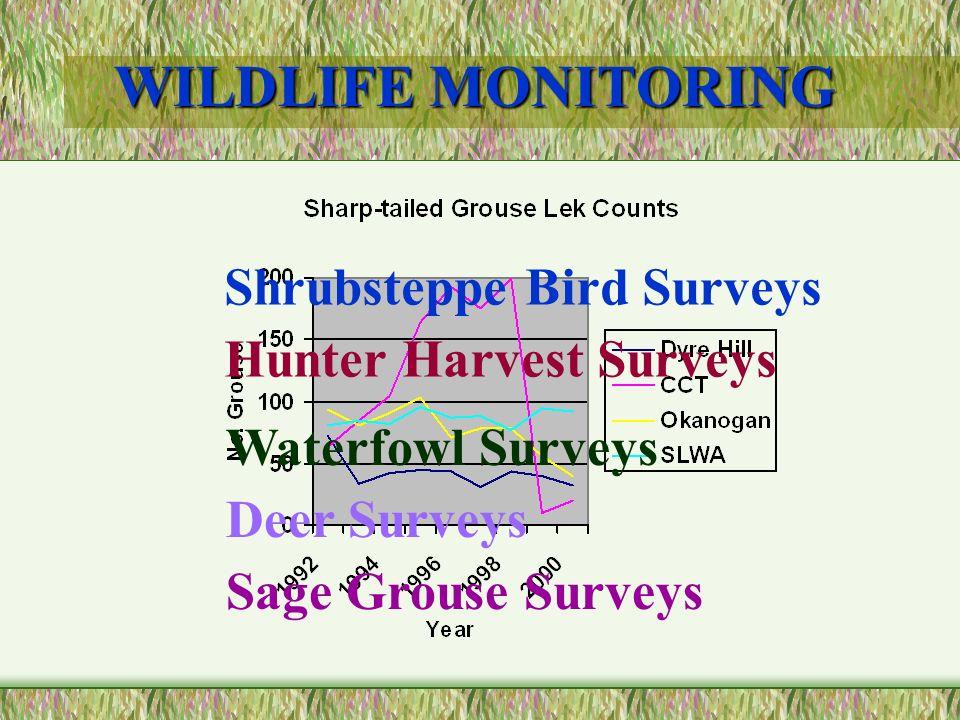 WILDLIFE MONITORING Shrubsteppe Bird Surveys Hunter Harvest Surveys Waterfowl Surveys Deer Surveys Sage Grouse Surveys