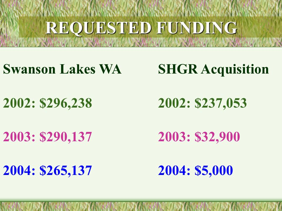 REQUESTED FUNDING Swanson Lakes WA 2002: $296,238 2003: $290,137 2004: $265,137 SHGR Acquisition 2002: $237,053 2003: $32,900 2004: $5,000
