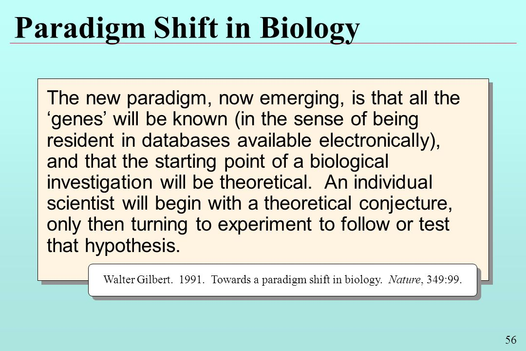56 Paradigm Shift in Biology The new paradigm, now emerging, is that all the genes will be known (in the sense of being resident in databases available electronically), and that the starting point of a biological investigation will be theoretical.
