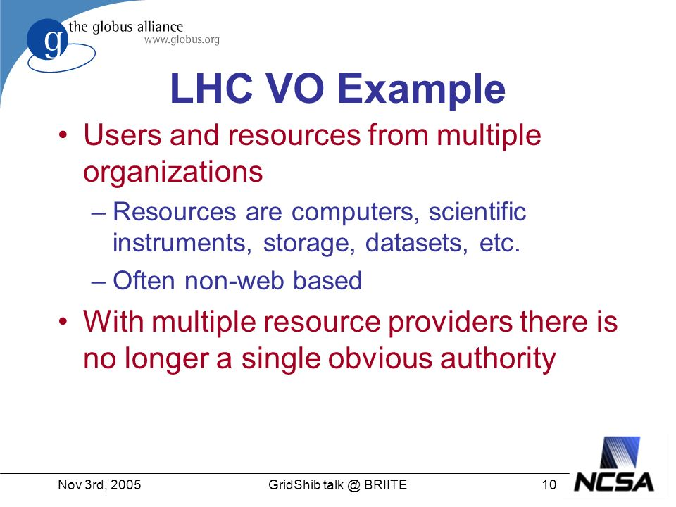 Nov 3rd, GridShib BRIITE LHC VO Example Users and resources from multiple organizations –Resources are computers, scientific instruments, storage, datasets, etc.