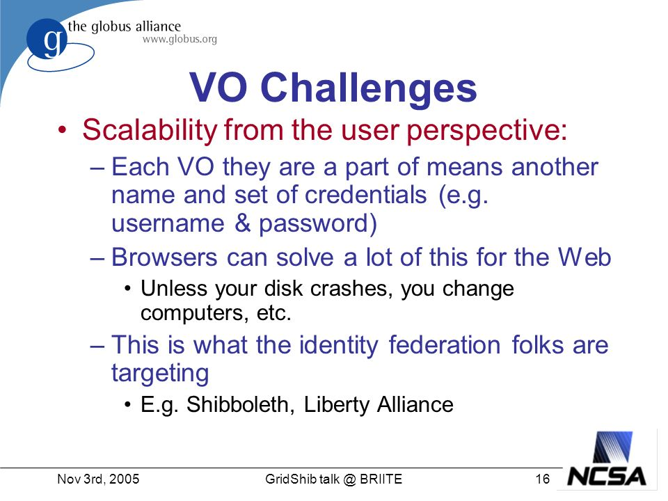 Nov 3rd, GridShib BRIITE VO Challenges Scalability from the user perspective: –Each VO they are a part of means another name and set of credentials (e.g.