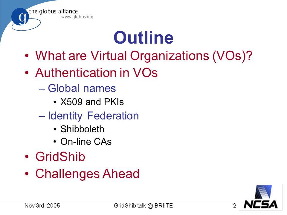 Nov 3rd, 200543GridShib talk @ BRIITE Authorization Plans Develop authorization framework in Globus Toolkit –Siebenlist et.