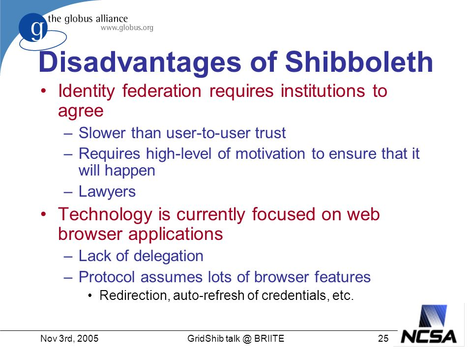 Nov 3rd, GridShib BRIITE Disadvantages of Shibboleth Identity federation requires institutions to agree –Slower than user-to-user trust –Requires high-level of motivation to ensure that it will happen –Lawyers Technology is currently focused on web browser applications –Lack of delegation –Protocol assumes lots of browser features Redirection, auto-refresh of credentials, etc.