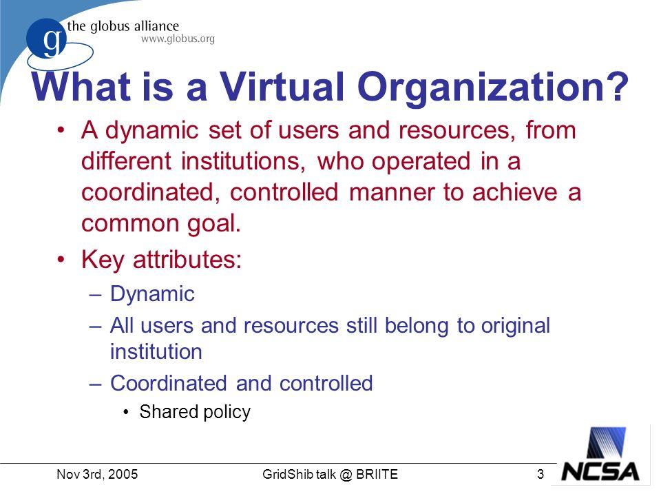 Nov 3rd, 200534GridShib talk @ BRIITE Check out book… Different protocols Privacy Different Schemas