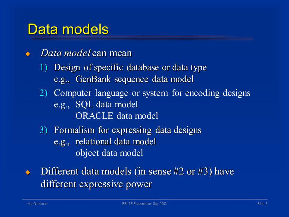 BRIITE Presentation Sep 2003Nat Goodman Slide 7 Finding the sweet spot Software abstraction Scientific abstraction Custom database for one laboratory project Generic database for all of science Generic LIMS for molecular projects Interaction database Gene database