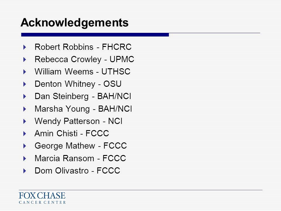 Acknowledgements Robert Robbins - FHCRC Rebecca Crowley - UPMC William Weems - UTHSC Denton Whitney - OSU Dan Steinberg - BAH/NCI Marsha Young - BAH/N