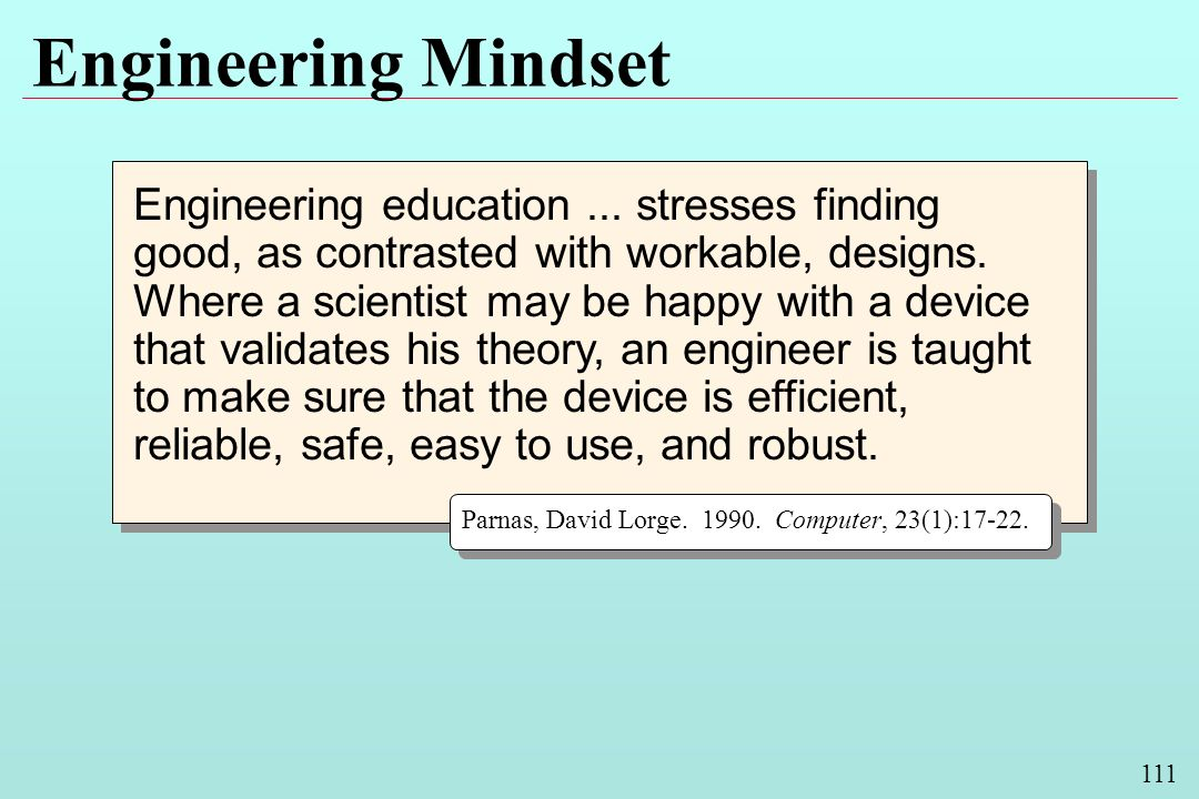 111 Engineering Mindset Engineering education...