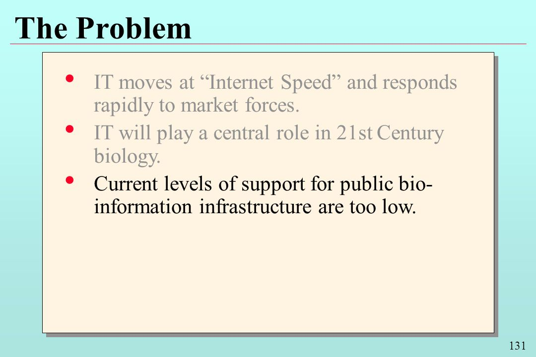 131 The Problem IT moves at Internet Speed and responds rapidly to market forces. IT will play a central role in 21st Century biology. Current levels