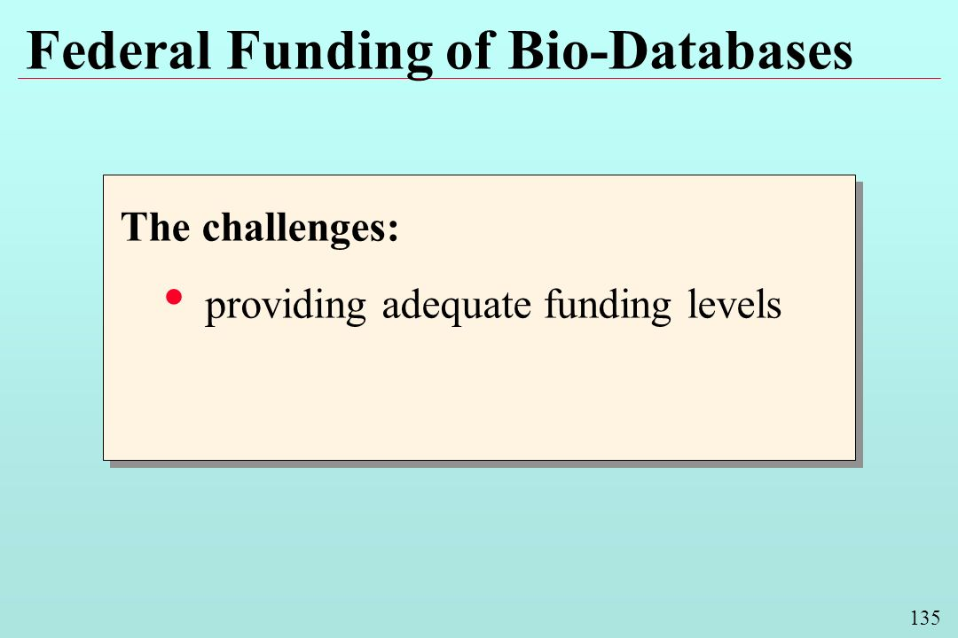 135 Federal Funding of Bio-Databases The challenges: providing adequate funding levels The challenges: providing adequate funding levels