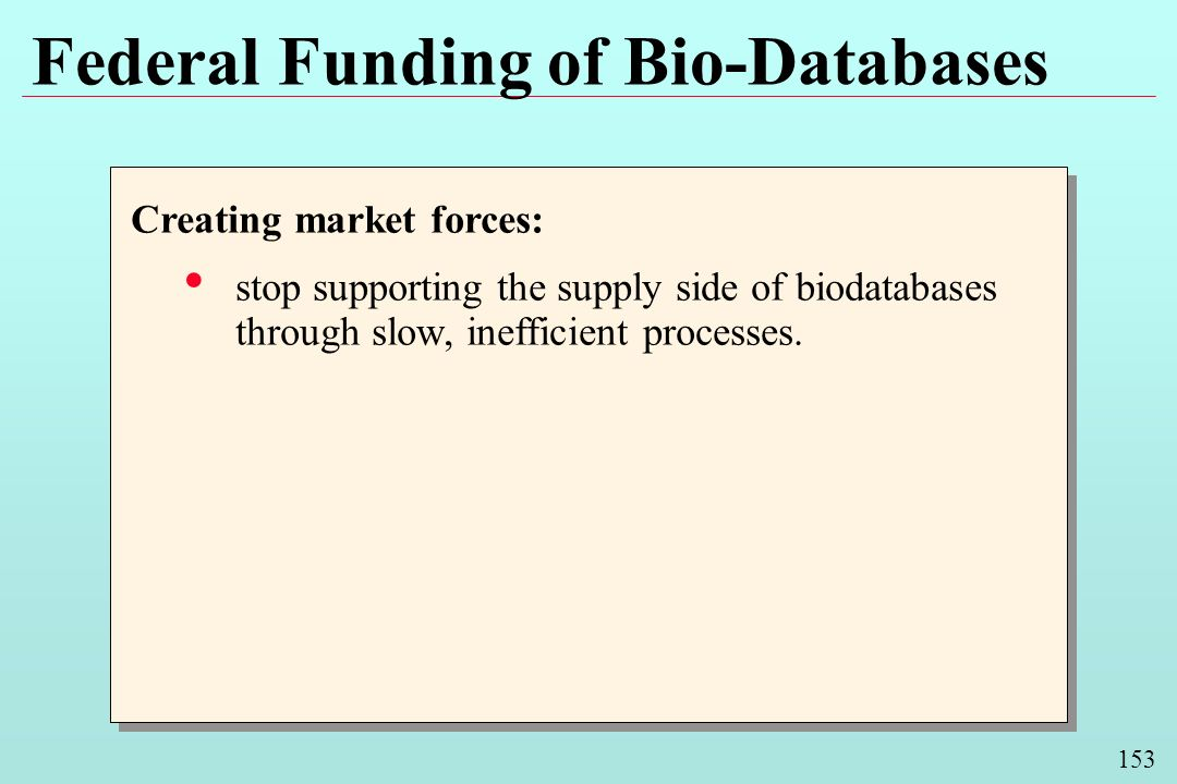 153 Federal Funding of Bio-Databases Creating market forces: stop supporting the supply side of biodatabases through slow, inefficient processes. Crea