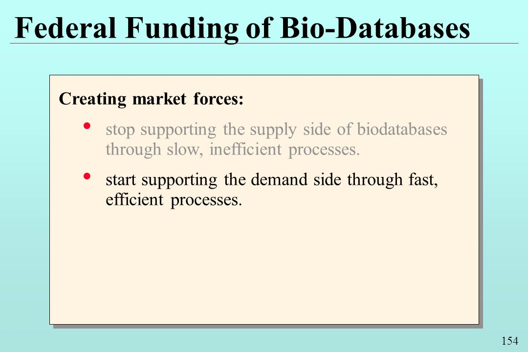 154 Federal Funding of Bio-Databases Creating market forces: stop supporting the supply side of biodatabases through slow, inefficient processes.
