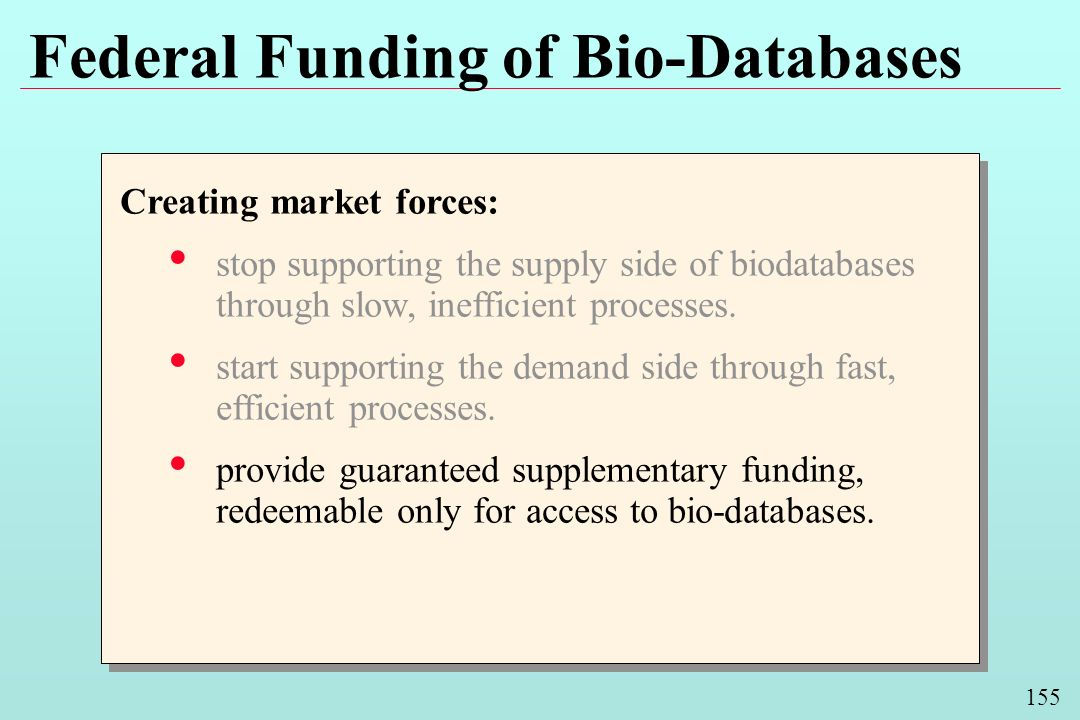 155 Federal Funding of Bio-Databases Creating market forces: stop supporting the supply side of biodatabases through slow, inefficient processes. star