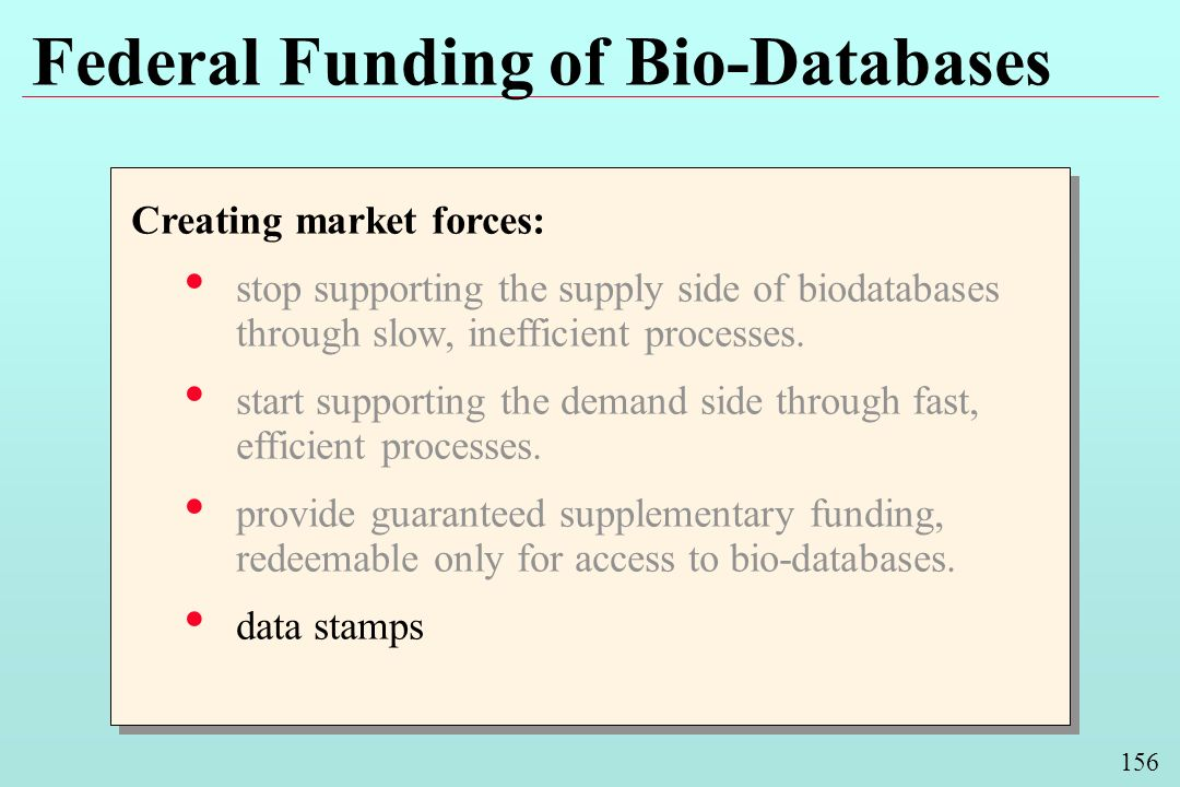 156 Federal Funding of Bio-Databases Creating market forces: stop supporting the supply side of biodatabases through slow, inefficient processes. star