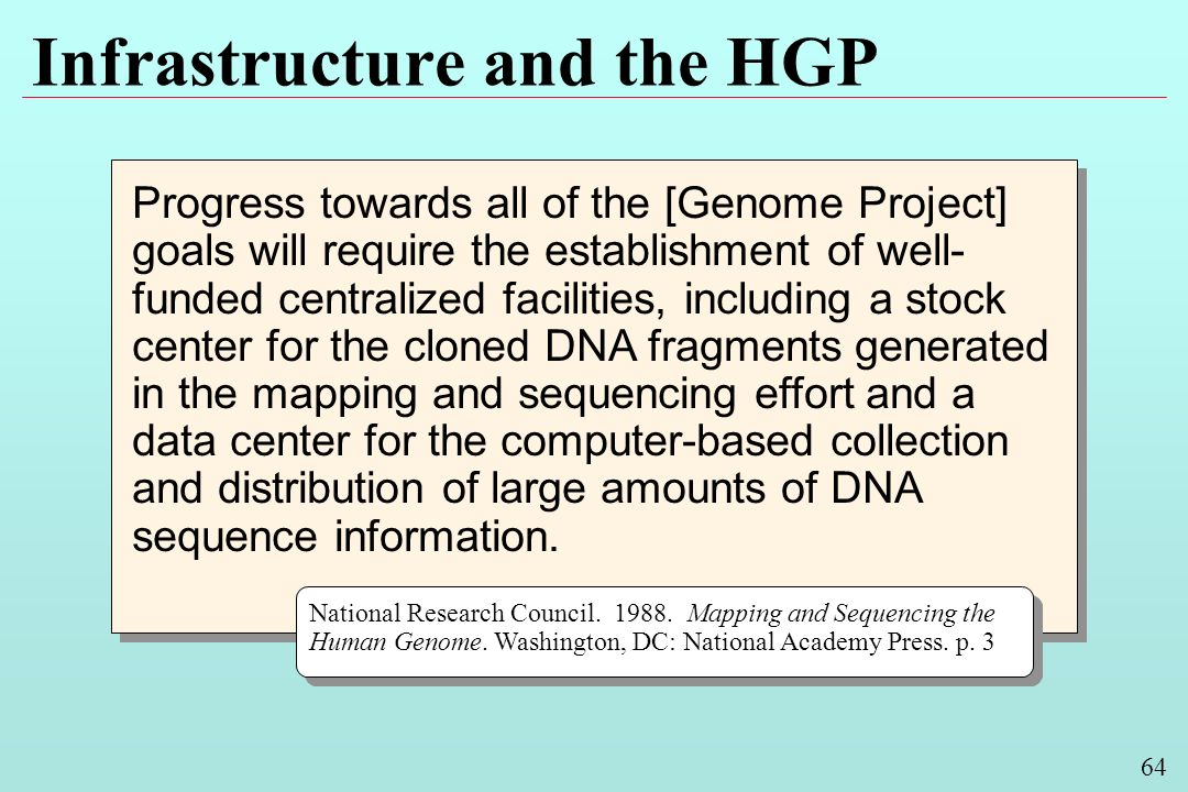 64 Infrastructure and the HGP Progress towards all of the [Genome Project] goals will require the establishment of well- funded centralized facilities, including a stock center for the cloned DNA fragments generated in the mapping and sequencing effort and a data center for the computer-based collection and distribution of large amounts of DNA sequence information.