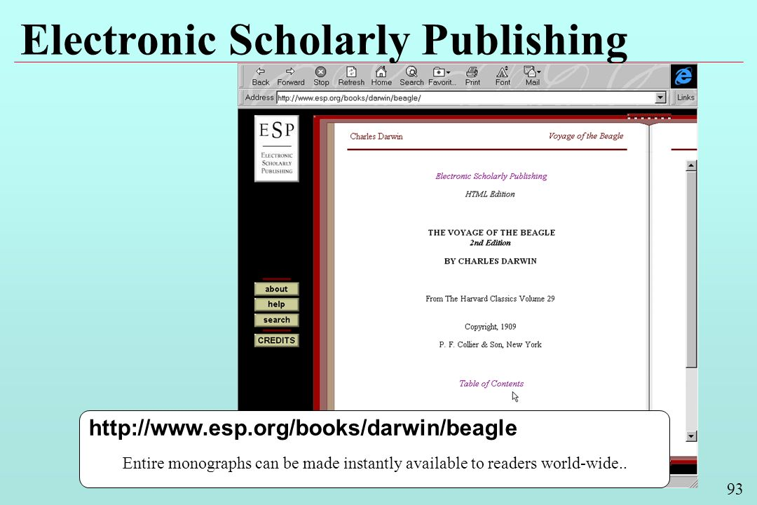 93 Electronic Scholarly Publishing http://www.esp.org/books/darwin/beagle Entire monographs can be made instantly available to readers world-wide..