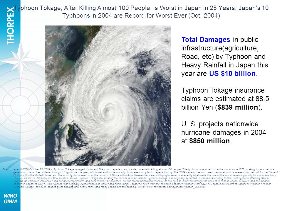Typhoon Tokage, After Killing Almost 100 People, is Worst in Japan in 25 Years; Japans 10 Typhoons in 2004 are Record for Worst Ever (Oct. 2004) Tokyo