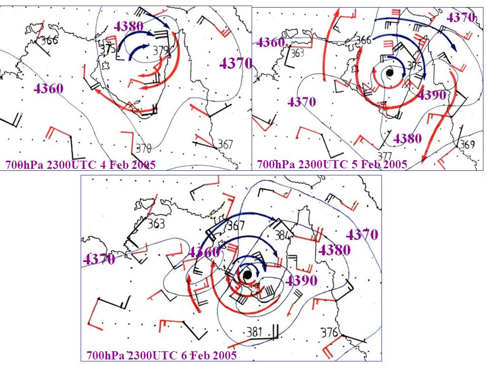 700hPa 2300UTC 6 Feb hPa 2300UTC 5 Feb hPa 2300UTC 4 Feb 2005