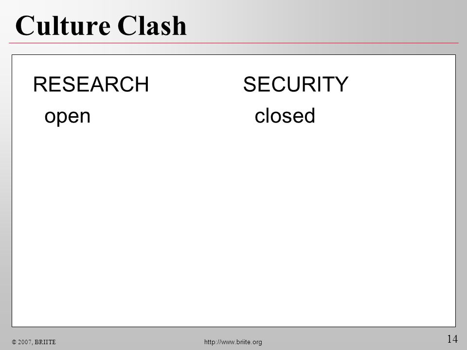 14 © 2007, BRIITE http://www.briite.org Culture Clash SECURITY closed RESEARCH open