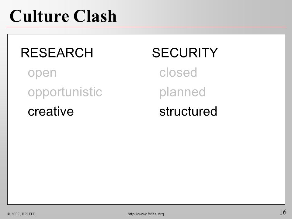 16 © 2007, BRIITE http://www.briite.org Culture Clash SECURITY closed planned structured RESEARCH open opportunistic creative