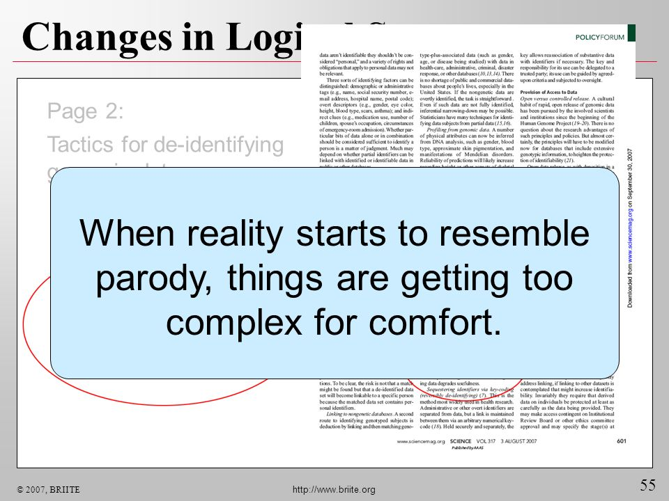 55 © 2007, BRIITE http://www.briite.org Changes in Logical Status Page 2: Tactics for de-identifying genomic data: When reality starts to resemble par