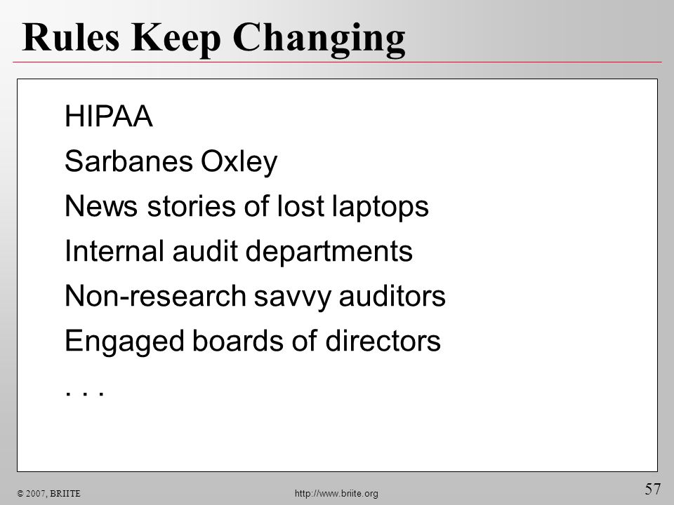57 © 2007, BRIITE http://www.briite.org Rules Keep Changing HIPAA Sarbanes Oxley News stories of lost laptops Internal audit departments Non-research