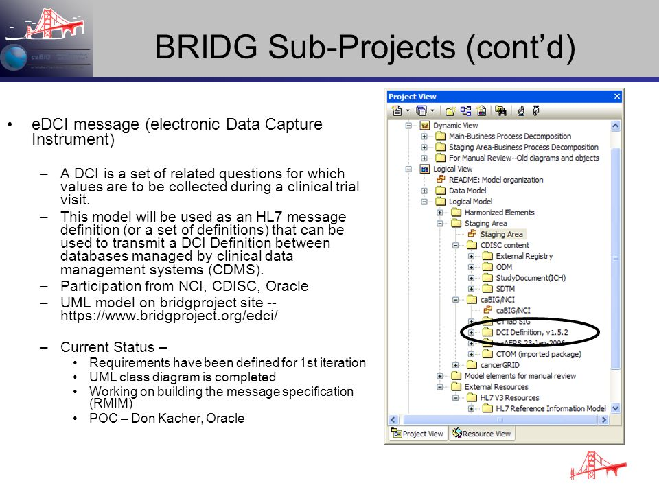 BRIDG Sub-Projects (contd) eDCI message (electronic Data Capture Instrument) –A DCI is a set of related questions for which values are to be collected