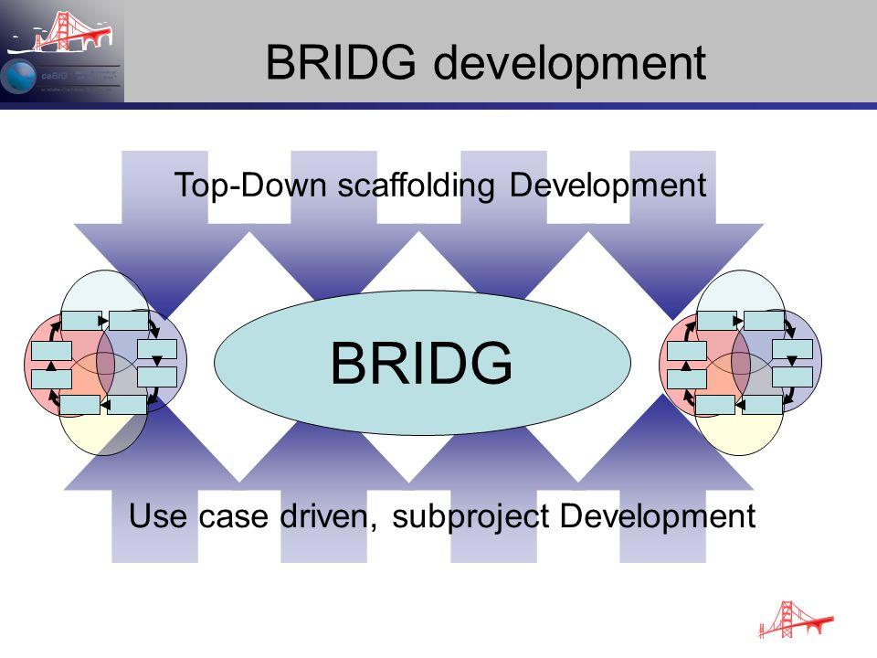 BRIDG development Top-Down scaffolding Development Use case driven, subproject Development BRIDG