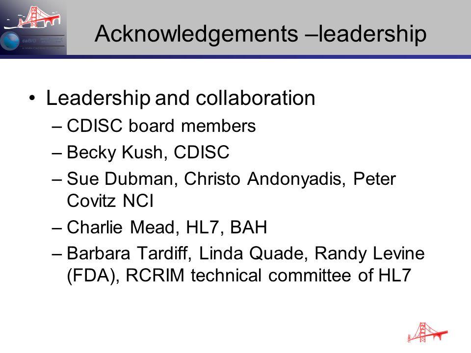 Acknowledgements –leadership Leadership and collaboration –CDISC board members –Becky Kush, CDISC –Sue Dubman, Christo Andonyadis, Peter Covitz NCI –C