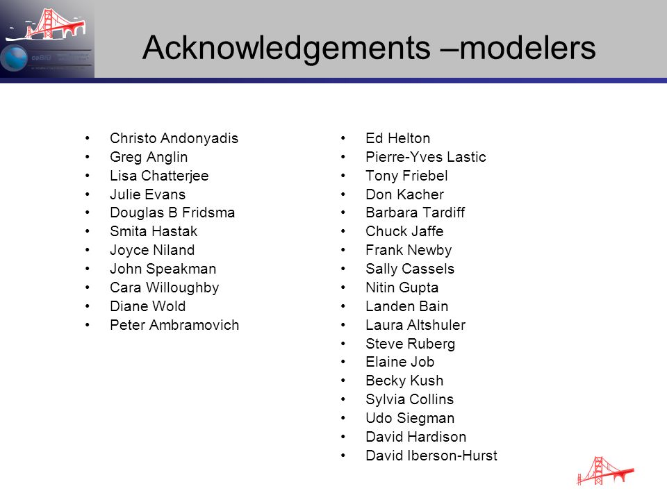 Acknowledgements –modelers Christo Andonyadis Greg Anglin Lisa Chatterjee Julie Evans Douglas B Fridsma Smita Hastak Joyce Niland John Speakman Cara W