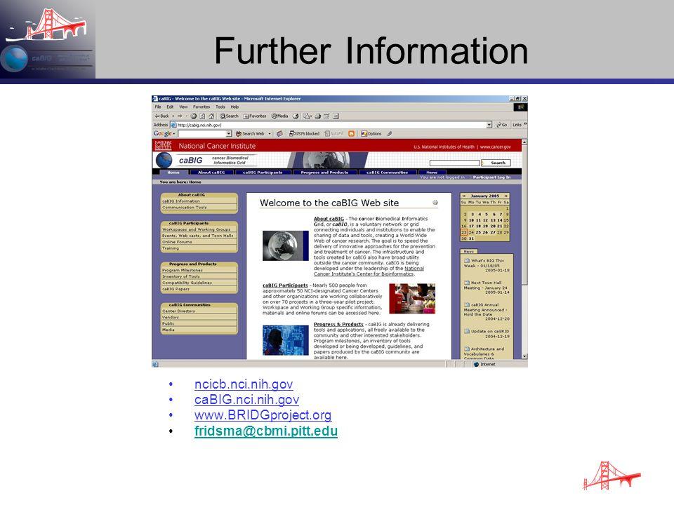 Further Information ncicb.nci.nih.gov caBIG.nci.nih.gov www.BRIDGproject.org fridsma@cbmi.pitt.edu