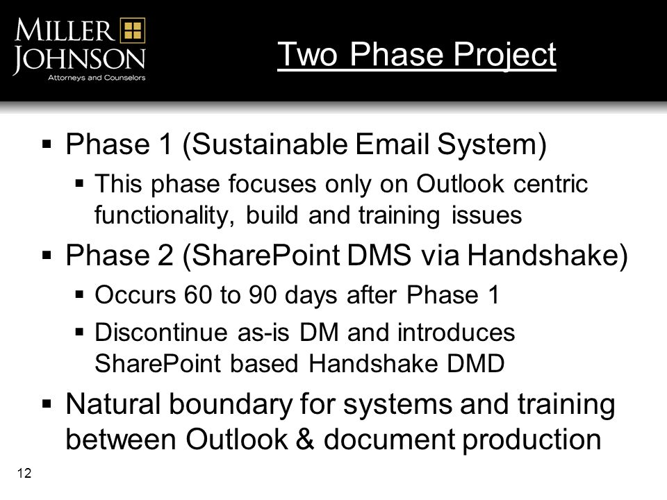 12 Two Phase Project Phase 1 (Sustainable Email System) This phase focuses only on Outlook centric functionality, build and training issues Phase 2 (SharePoint DMS via Handshake) Occurs 60 to 90 days after Phase 1 Discontinue as-is DM and introduces SharePoint based Handshake DMD Natural boundary for systems and training between Outlook & document production