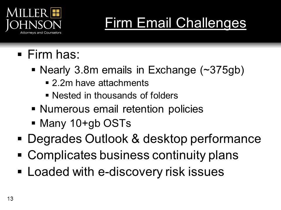 13 Firm Email Challenges Firm has: Nearly 3.8m emails in Exchange (~375gb) 2.2m have attachments Nested in thousands of folders Numerous email retention policies Many 10+gb OSTs Degrades Outlook & desktop performance Complicates business continuity plans Loaded with e-discovery risk issues