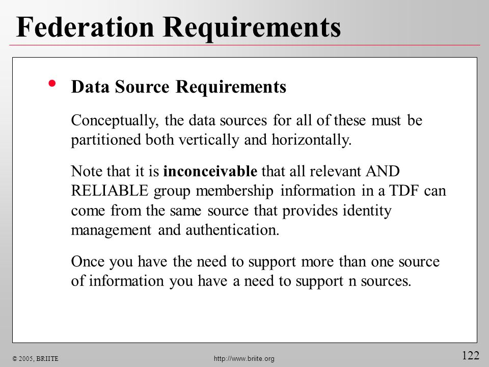 122 © 2005, BRIITE http://www.briite.org Federation Requirements Data Source Requirements Conceptually, the data sources for all of these must be part