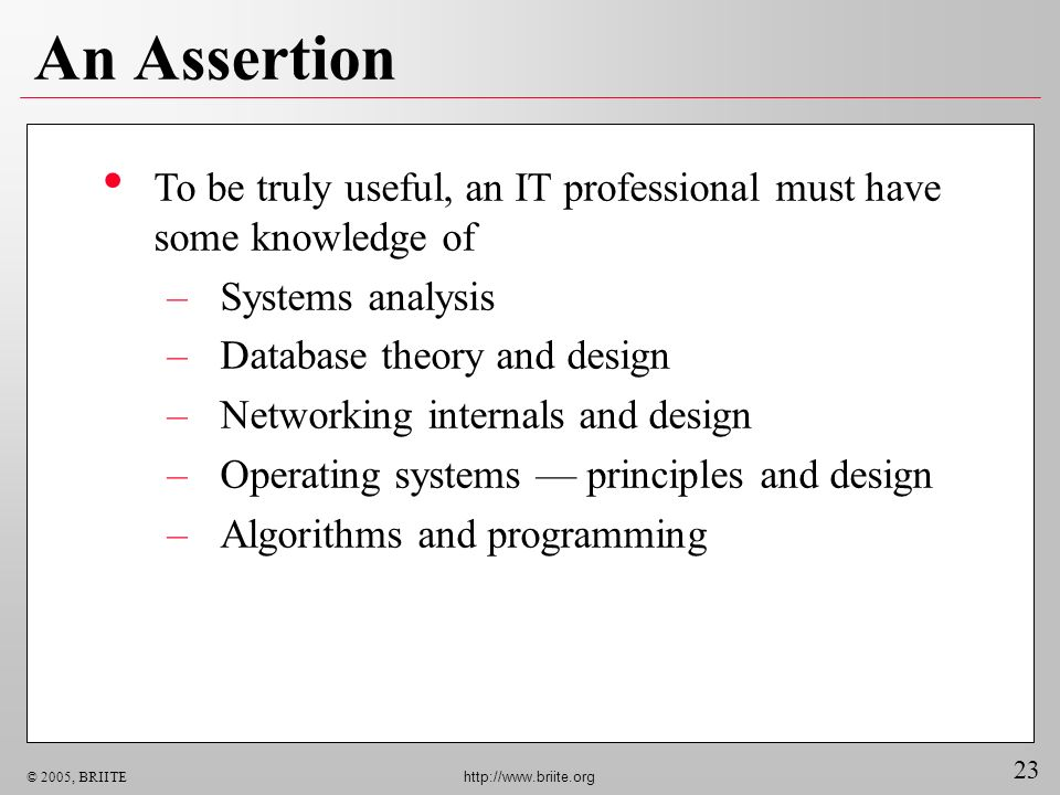 23 © 2005, BRIITE http://www.briite.org An Assertion To be truly useful, an IT professional must have some knowledge of –Systems analysis –Database theory and design –Networking internals and design –Operating systems principles and design –Algorithms and programming
