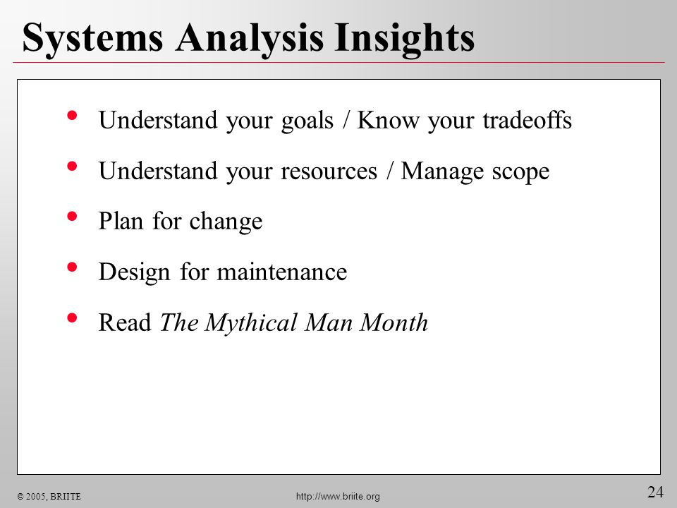 24 © 2005, BRIITE http://www.briite.org Systems Analysis Insights Understand your goals / Know your tradeoffs Understand your resources / Manage scope Plan for change Design for maintenance Read The Mythical Man Month