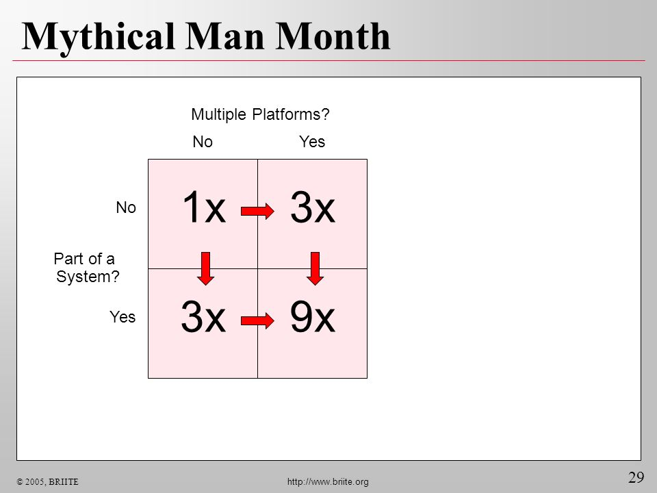29 © 2005, BRIITE http://www.briite.org Mythical Man Month Multiple Platforms.