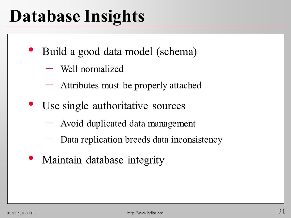 31 © 2005, BRIITE http://www.briite.org Database Insights Build a good data model (schema) – Well normalized – Attributes must be properly attached Use single authoritative sources – Avoid duplicated data management – Data replication breeds data inconsistency Maintain database integrity