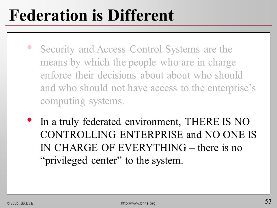 53 © 2005, BRIITE http://www.briite.org Federation is Different Security and Access Control Systems are the means by which the people who are in charg
