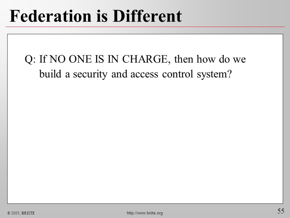 55 © 2005, BRIITE http://www.briite.org Federation is Different Q:If NO ONE IS IN CHARGE, then how do we build a security and access control system