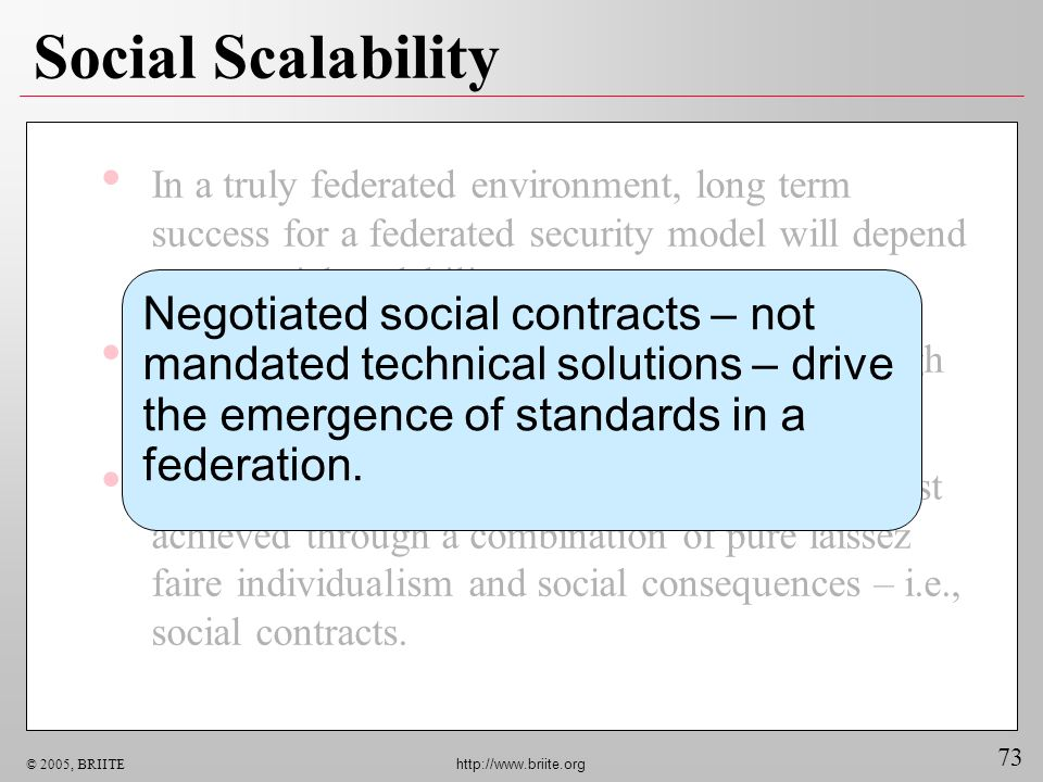 73 © 2005, BRIITE http://www.briite.org Social Scalability In a truly federated environment, long term success for a federated security model will depend upon social scalability.